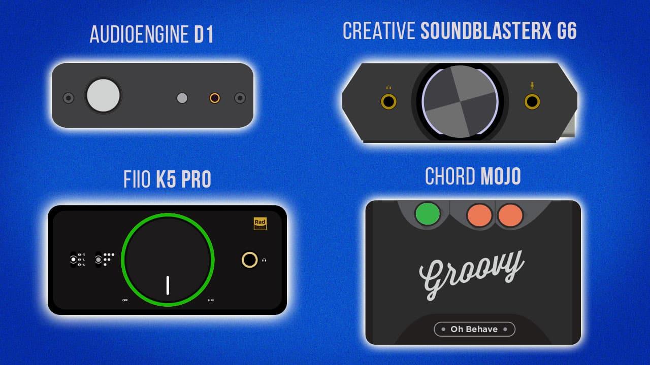 Audioengine D1 vs. FiiO K5 Pro vs. Creative SoundBlasterX G6 vs. Chord Mojo